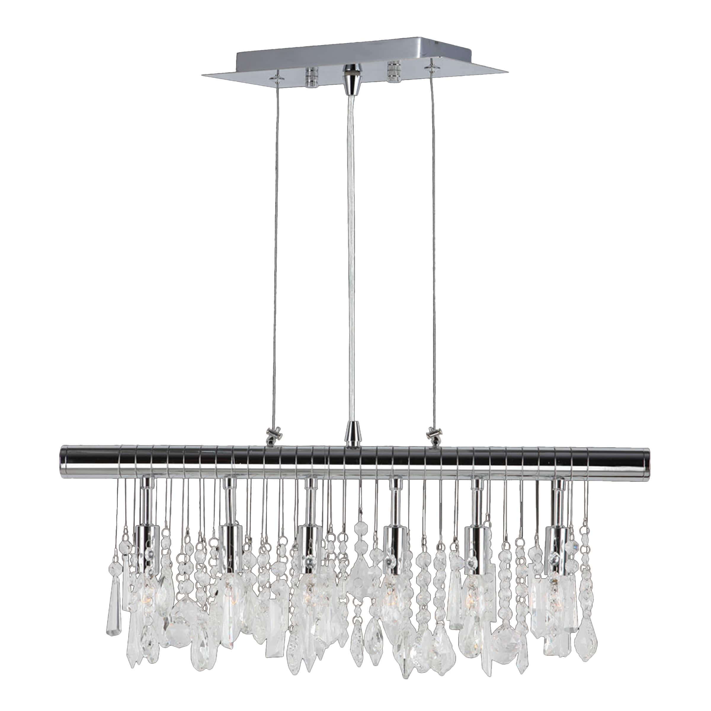 Brilliance lighting and chandeliers sparkling faceted crystal 6 light kitchen island linear pendant large 24 wide