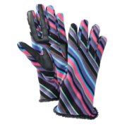 Isotoner Smart Touch Womens Gray & Pink Stripes Fleece Smartouch Texting Gloves