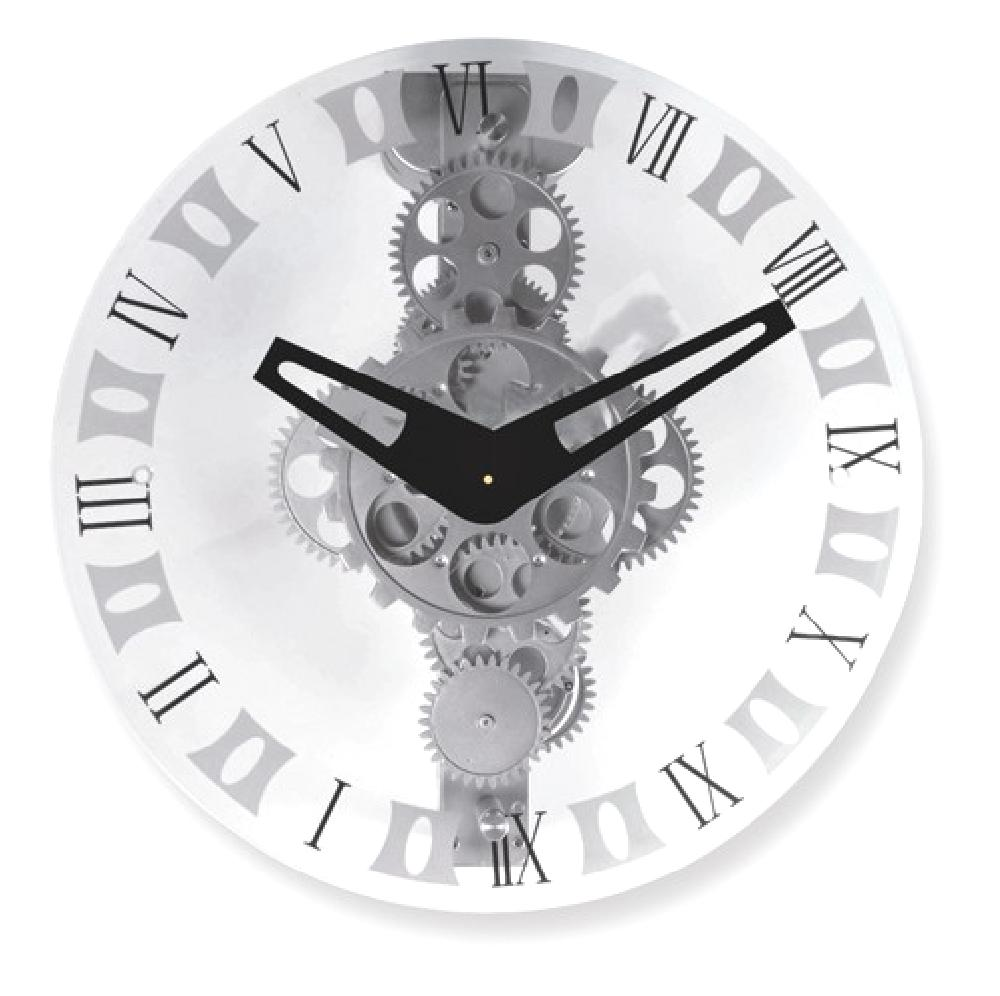 IceCarats IceCarats Glass Dial Moving Gear Wall Clock