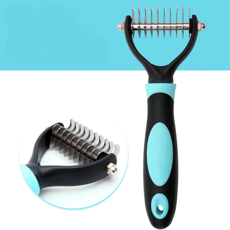 Dematting Comb Pet Grooming Rake Tool, Professional Single Sided Undercoat Rake for Cats & Dogs, Safe Dematting Comb for Easy Mats & Tangles Removing And Tidy Disgusting Shedding, Flying Hair, Blue