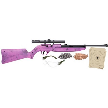 Crosman 760 Pumpmaster .177 Caliber Multi-Pump Air Rifle with Scope, includes Kit, Pink