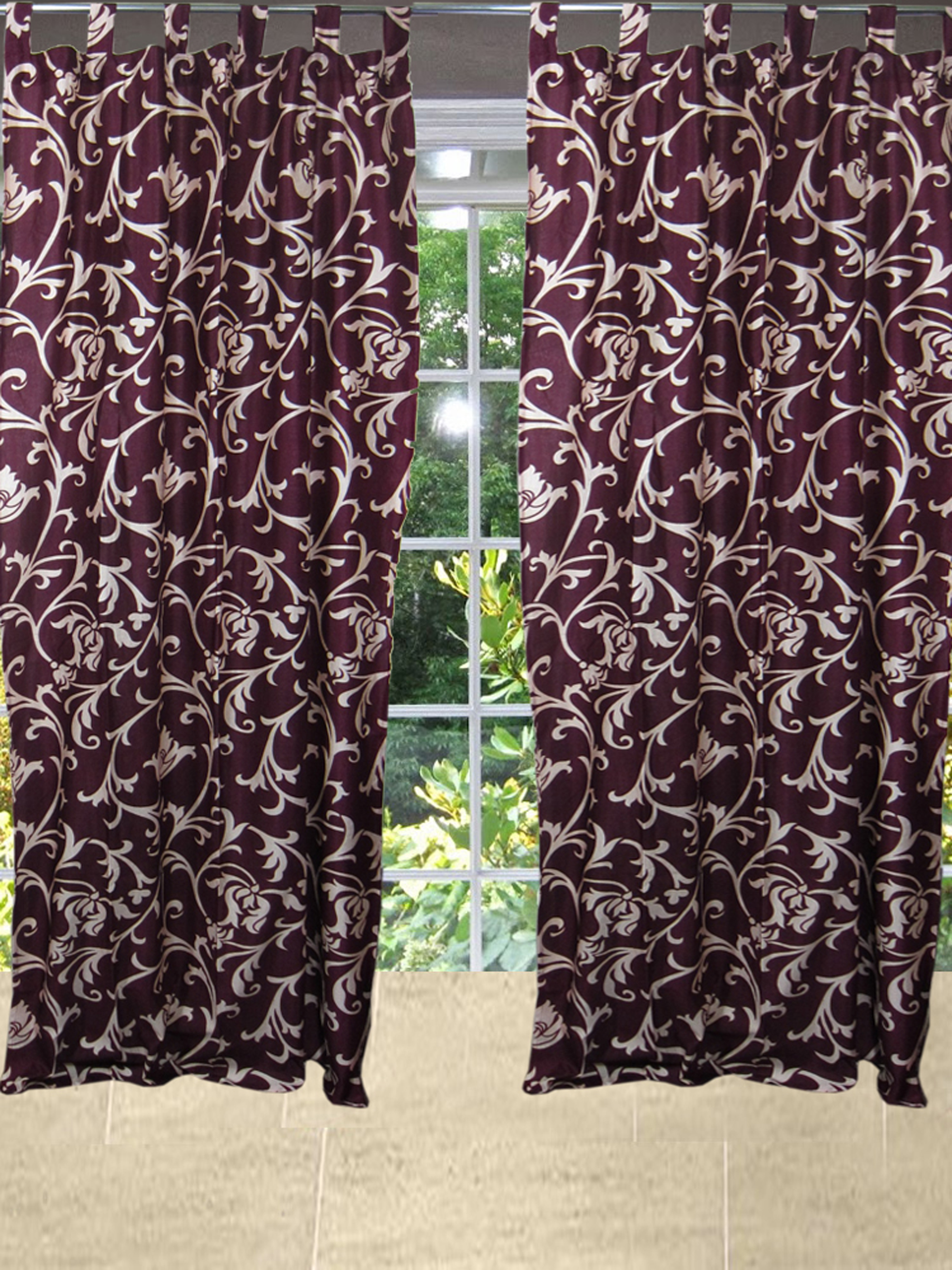 Mogul Printed Curtain Panels Maroon Window Drapes For Home Decoration (84x48)