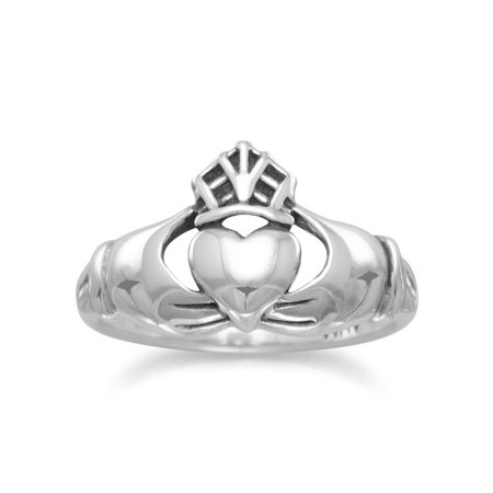 Claddagh Ring Antiqued Sterling Silver Mens Womens Smooth Band