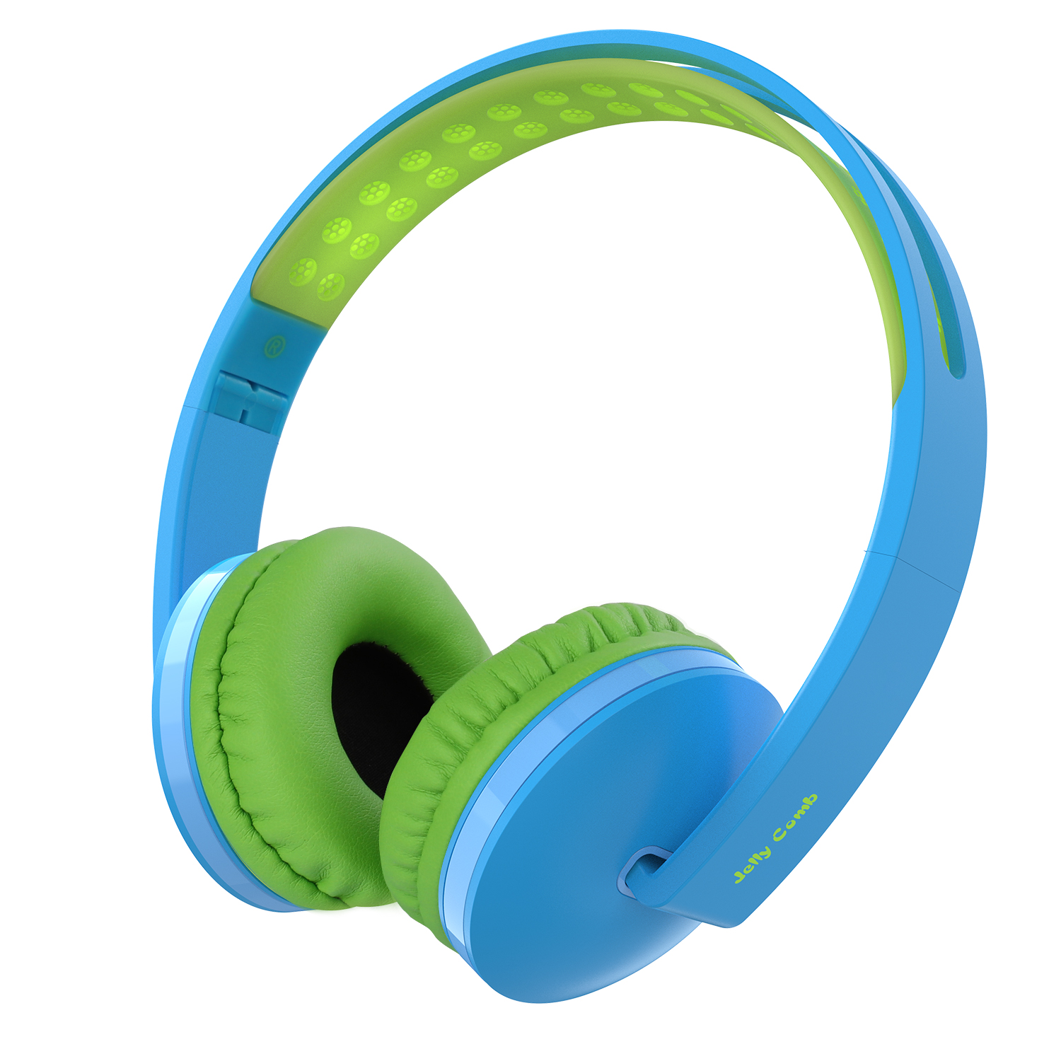 On Ear Headphones with Mic, Jelly Comb Foldable Corded Headphones Wired Headsets with Microphone, Volume Control for Cell Phone, Tablet, PC, Laptop, MP3/4, Video Game (Sky Blue & Grass Green)