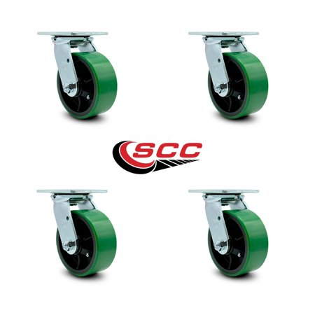 "Service Caster - 5"" x 2"" Polyurethane Wheel Caster Set - Green on Black - Swivel Casters - Non Marking - 4,000 Lbs Total Capacity - Set of 4"