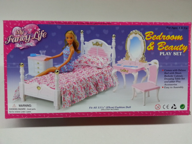 Gentil Bedroom U0026 Beauty Play Set For Dolls And Dollhouse Furniture