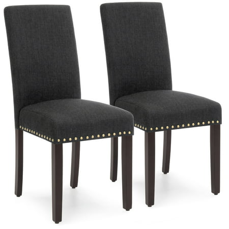 Best Choice Products Set of 2 Upholstered Fabric High Back Parsons Accent Dining Chairs for Dining Room, Kitchen w/ Wood Legs, High Density Foam Padding, Nail Head Stud Trim - Charcoal (Wood Back Upholstered Chair)