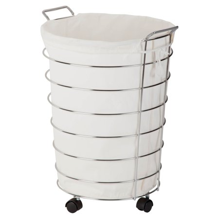 Honey Can Do Steel Frame Rolling Hamper with Canvas Bag, Chrome/Natural ()