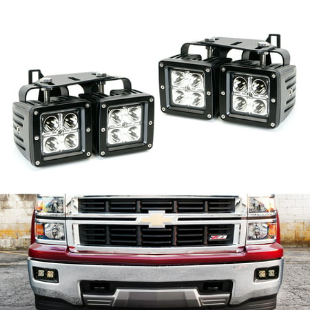 07 Chevrolet Silverado 1500 Light - iJDMTOY Complete 80W High Power CREE LED Fog Light Kit w/ Fog Lamp Location Mounting Brackets For 2014-2015 Chevrolet Silverado 1500