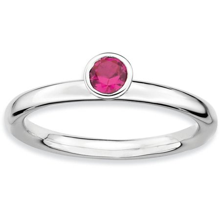 Stackable Expressions High 4mm Round Created Ruby Sterling Silver Ring