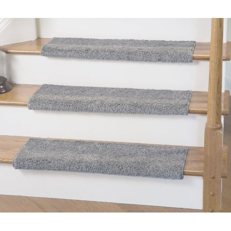 Caprice Light Gray Bullnose Carpet Stair Tread With Adhesive Padding 27 Wide 10 Quot