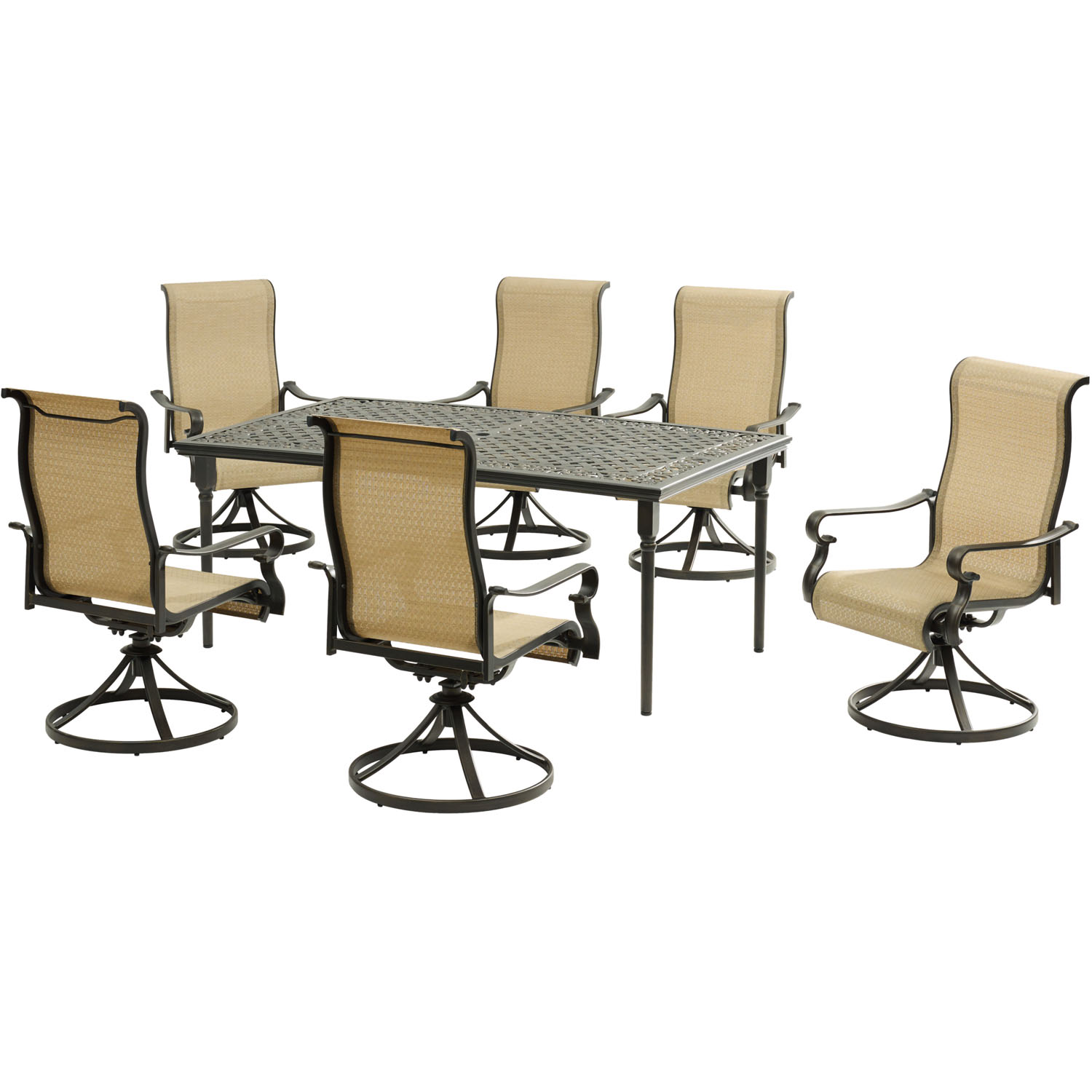 "Hanover Brigantine 7-Piece Dining Set with a 40"" x 70"" Cast-Top Dining Table and 6 Sling Swivel Rockers"