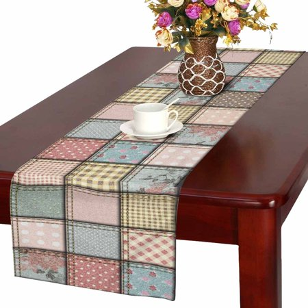 MKHERT Shabby Chic Patchwork with Polka Dots Flowers Plaid Table Runner for Office Kitchen Dining Wedding Party Banquet 16x72 Inch](Shabby Chic Party Supplies)