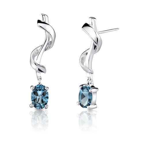 Oravo 0.25''x1'' 2.00 Carats Oval Cut London Blue Topaz Earrings in Sterling Silver