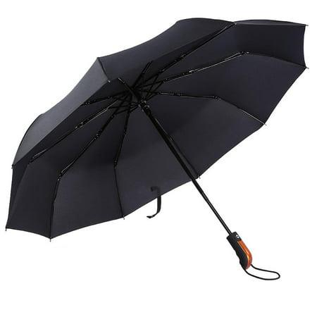 Tbest  Black Large Windproof Travel Umbrella 10 Ribs Unbreakable Auto Open Close Waterproof Stormproof Canopy Rustproof Folding Compact Rain Umbrellas for Men and Women,Black Large Windproof Travel