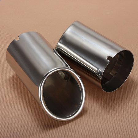 2Pcs Car Stainless Steel Chrome Exhaust Tail Rear Muffler Tip Pipe For Audi A4 B8 Q5 2009 2010 2011 2012 - image 1 of 7