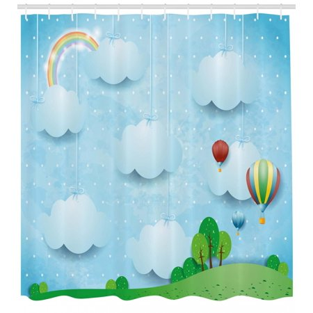 Kids Shower Curtain, Boys Girls Nursery Theme with Balloons Clouds and Stars on the Hillls Cartoon Design, Fabric Bathroom Set with Hooks, Multicolor, by Ambesonne