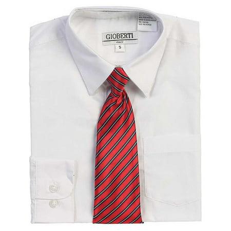 White Button Up Dress Shirt Red Striped Tie Set Boys 5-18 - White Dress Shirt Boys