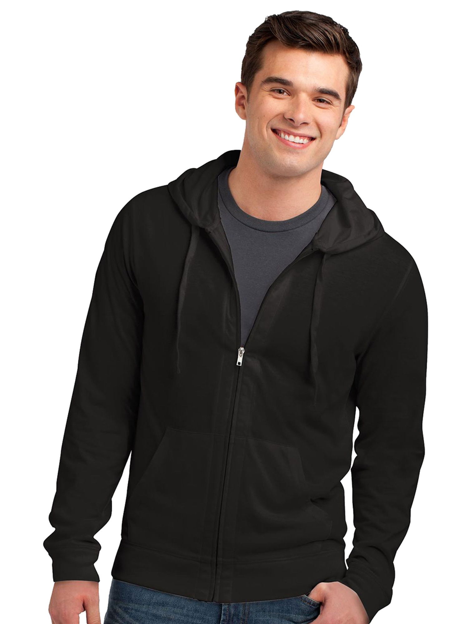 District Men's Lightweight Stylish Full-Zip Hoodie