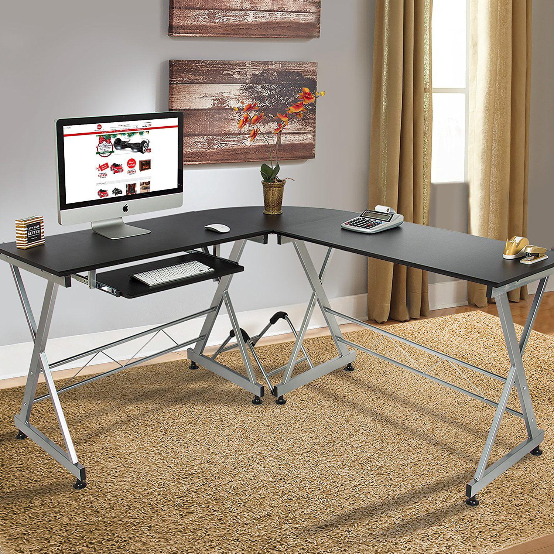 Zimtown L Shape Corner Computer Table Desk Wooden Laptop Table Workstation  Home Office   Walmart.com