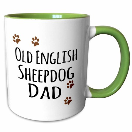 3dRose Old English Sheepdog Dad - Sheep Dog - Doggie by breed - brown paw prints doggy lover pet owner love - Two Tone Green Mug, 11-ounce (Meat Sheep Breeds)