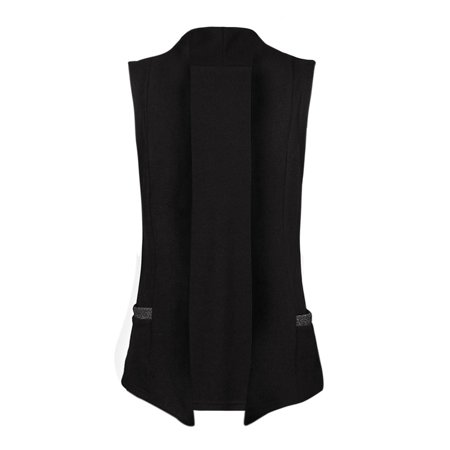 Men's Open Front Two Straight Pockets Sleeveless Vest Outerwear