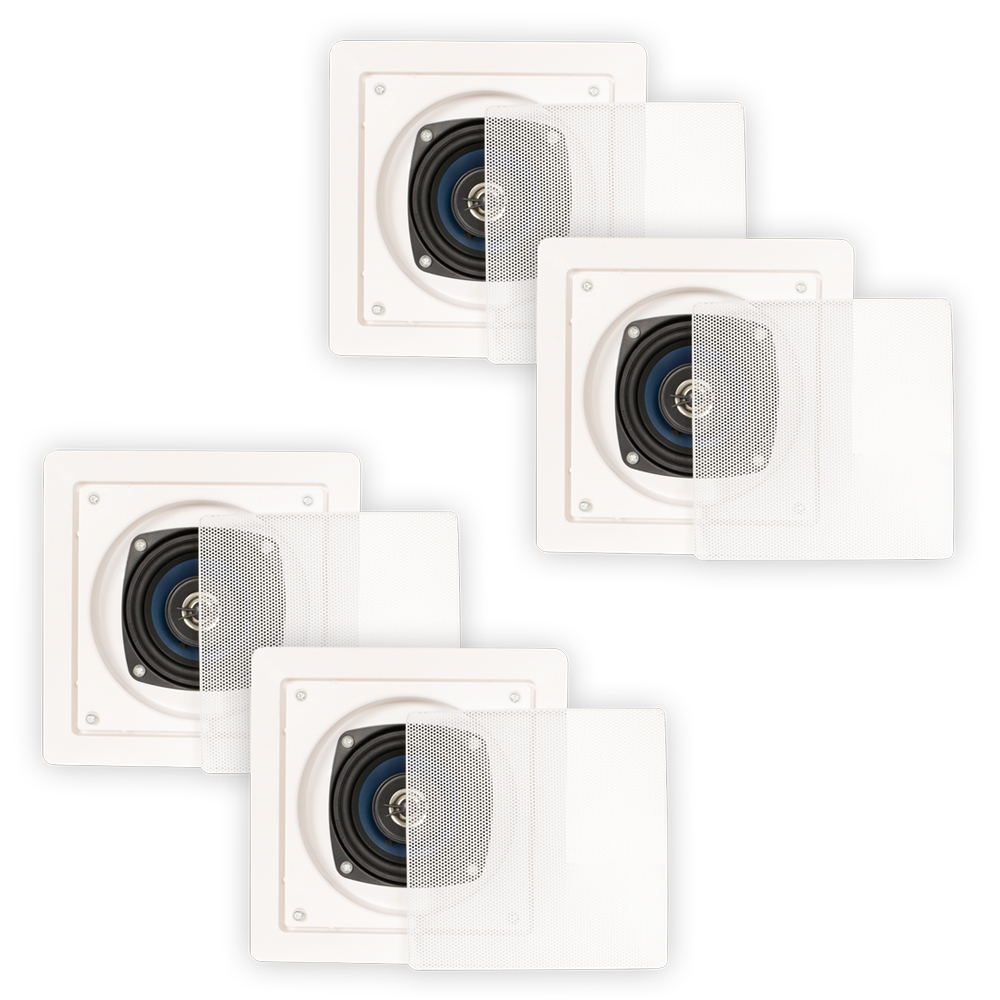 Blue Octave LS42 In Wall or In Ceiling Speakers Home Theater 2-Way Square 2 Pair Pack