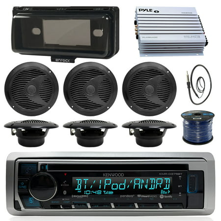 Kenwood KMRD375BT Marine Boat Audio Bluetooth CD Player Receiver W/ Protective Cover - Bundle Combo With 6x Black 6-1/2'' 150W Waterproof Stereo Speakers + Enrock Antenna + 400W Amplifier + 50-FT (Best Marine Stereo With Wired Remote)