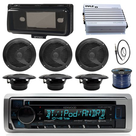 Kenwood KMRD375BT Marine Boat Audio Bluetooth CD Player Receiver W/ Protective Cover - Bundle Combo With 6x Black 6-1/2'' 150W Waterproof Stereo Speakers + Enrock Antenna + 400W Amplifier + (400w Stereo)