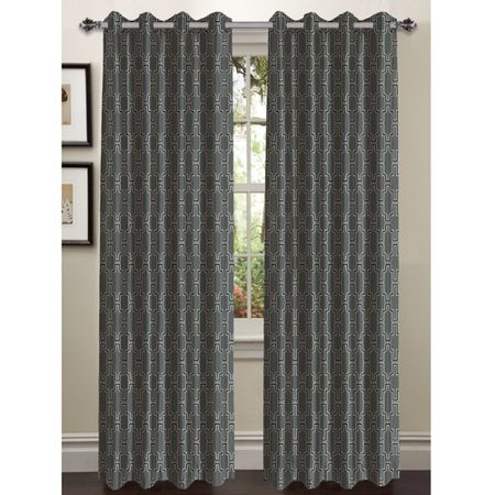 Wesley Faux Silk Grommet Curtain Panels - Blue And Yellow Curtains