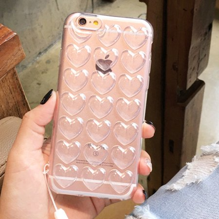 """iPhone 7 4.7"""" 3D Clear Soft Silicone Rubber TPU Bubble Heart Shape Cute Cover Case"""