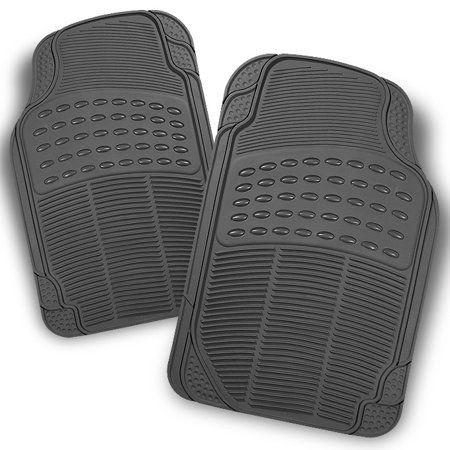 2 Piece Front Liners - All Weather Rubber Semi Pattern Grey Car Front Floor Mats 2 Pcs Liner Heavy Duty