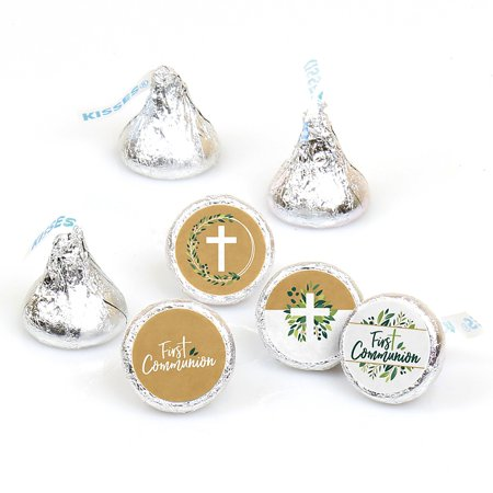 First Communion Elegant Cross - Religious Party Round Candy Sticker Favors - Labels Fit Hershey