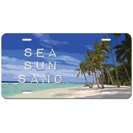 Vacation Tag - Sea Sun Sand - Tropical Vacation Island Palm Trees Novelty Metal Vanity License Tag Plate