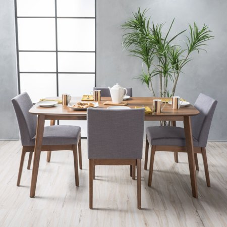 - Noble House Caruso Mid Century Modern 5 Piece Dining Set, Natural Walnut, Dark Grey