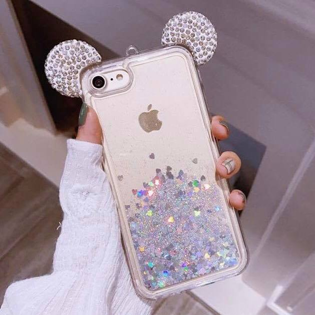 "iPhone 6 4.7"" iPhone 6s 4.7"" 3D Holographic Silver Mickey Ears Glitter Waterfall Liquid Case"
