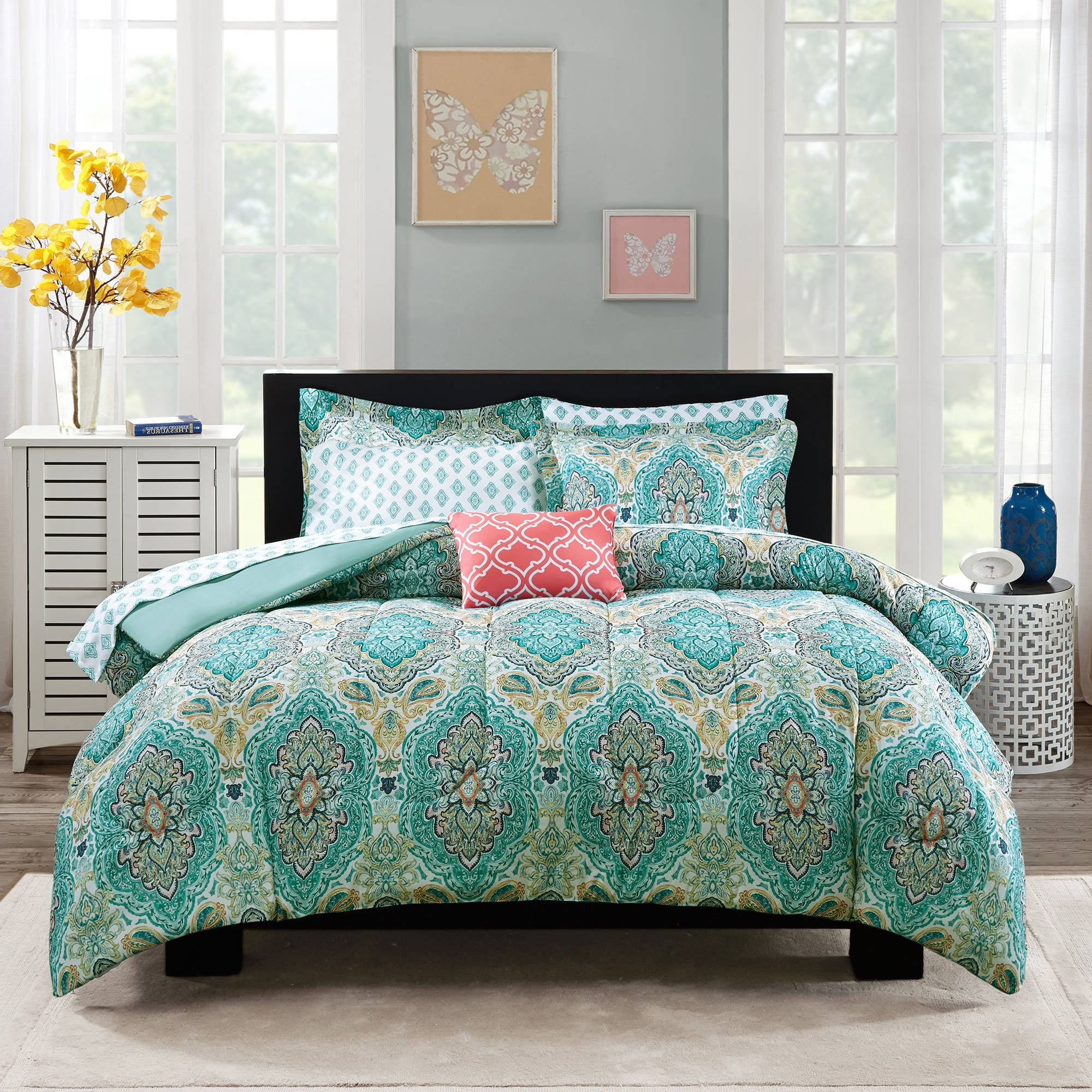 Bedroom Sets Full Size Mint Black And White Bedroom Ideas Lighting For Small Bedroom Bedroom With Black Accent Wall: Mainstays Monique Paisley Bed-in-a-Bag Comforter Set