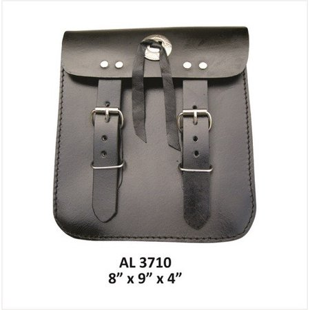 - Motorcycle Luggage Travel Medium Plain Sissy bar leather bag With Silver Concho