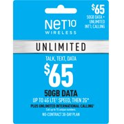 Net10 $65 Unlimited 30-Day Plan e-PIN Top Up (Email Delivery)
