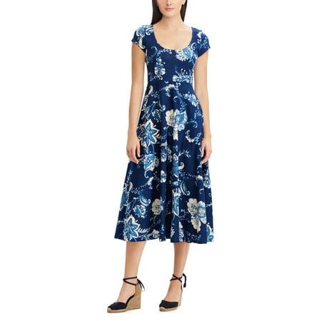 Print Jersey Dress (Tropical-Print Jersey Dress )