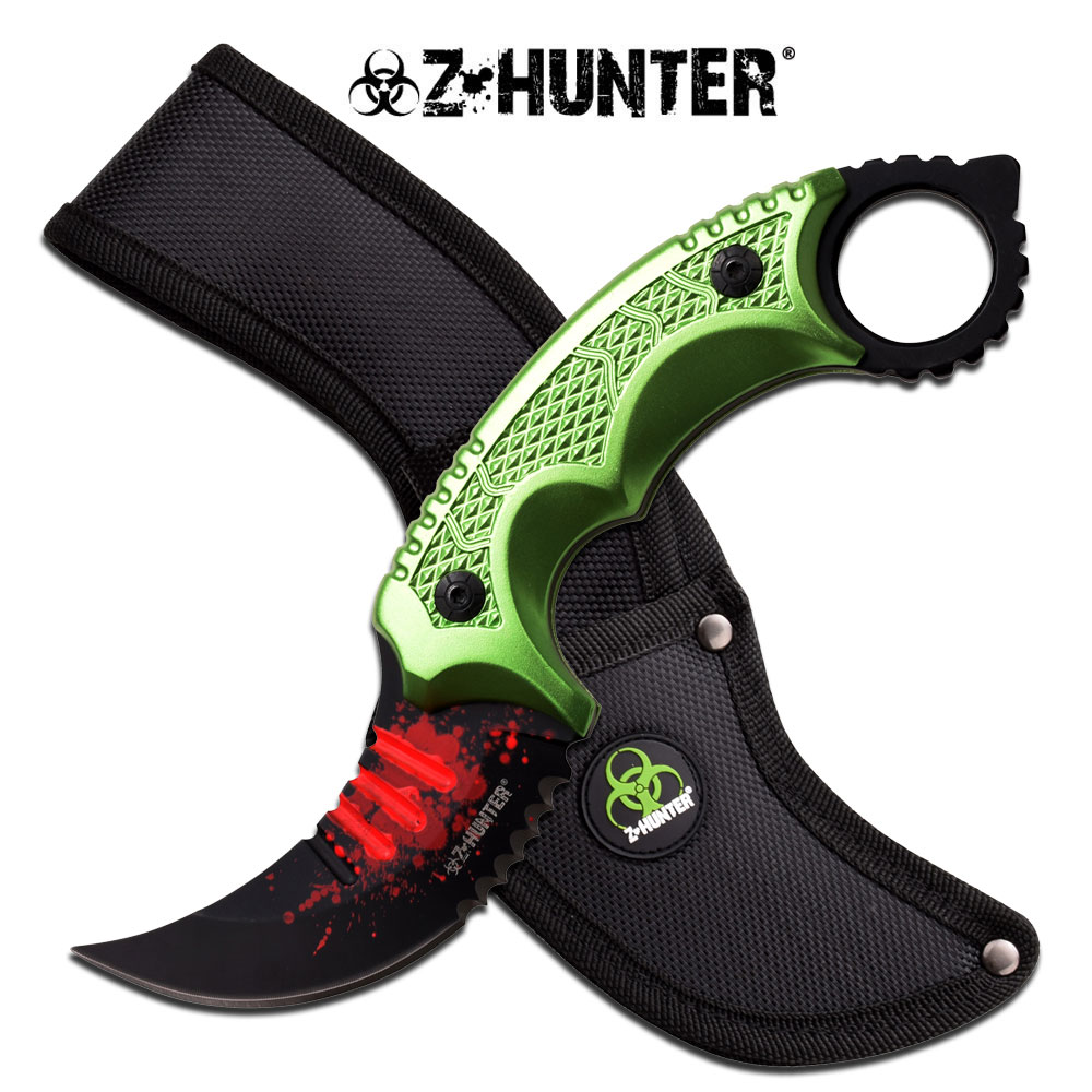 NEW! Z-Hunter Zombie Slasher Inverted Karambit Tactical Fixed-Blade Knife