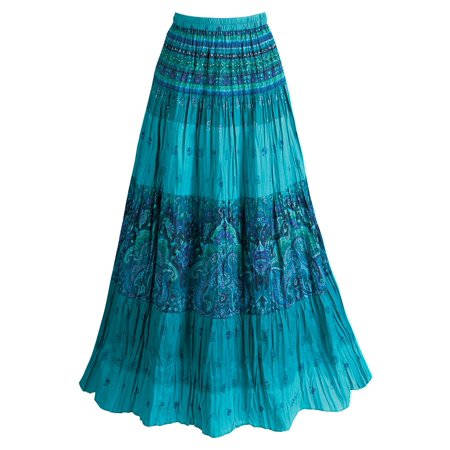 Catalog Classics Women's Peasant Skirt - Turquoise Blue Tiered Broom Maxi Skirt