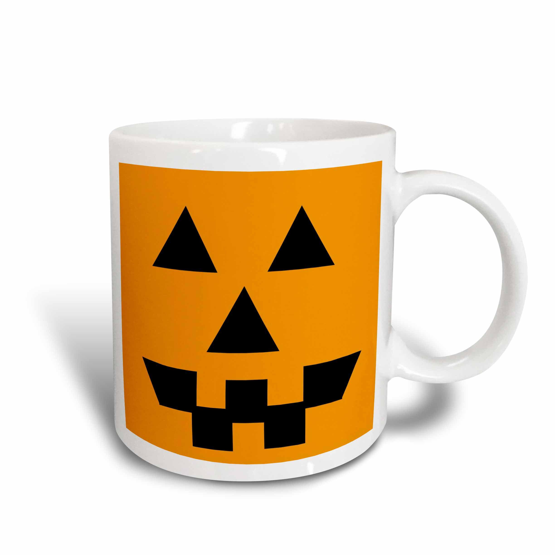 3dRose Orange Pumpkin Face- Halloween Art- Autumn, Ceramic Mug, 11-ounce