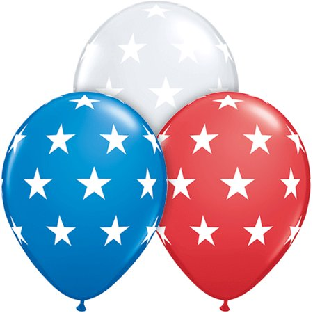11in Big Stars Around Patriotic 11 in Latex Balloons, Red White Blue, 50 Pack - Big Balloons For Sale