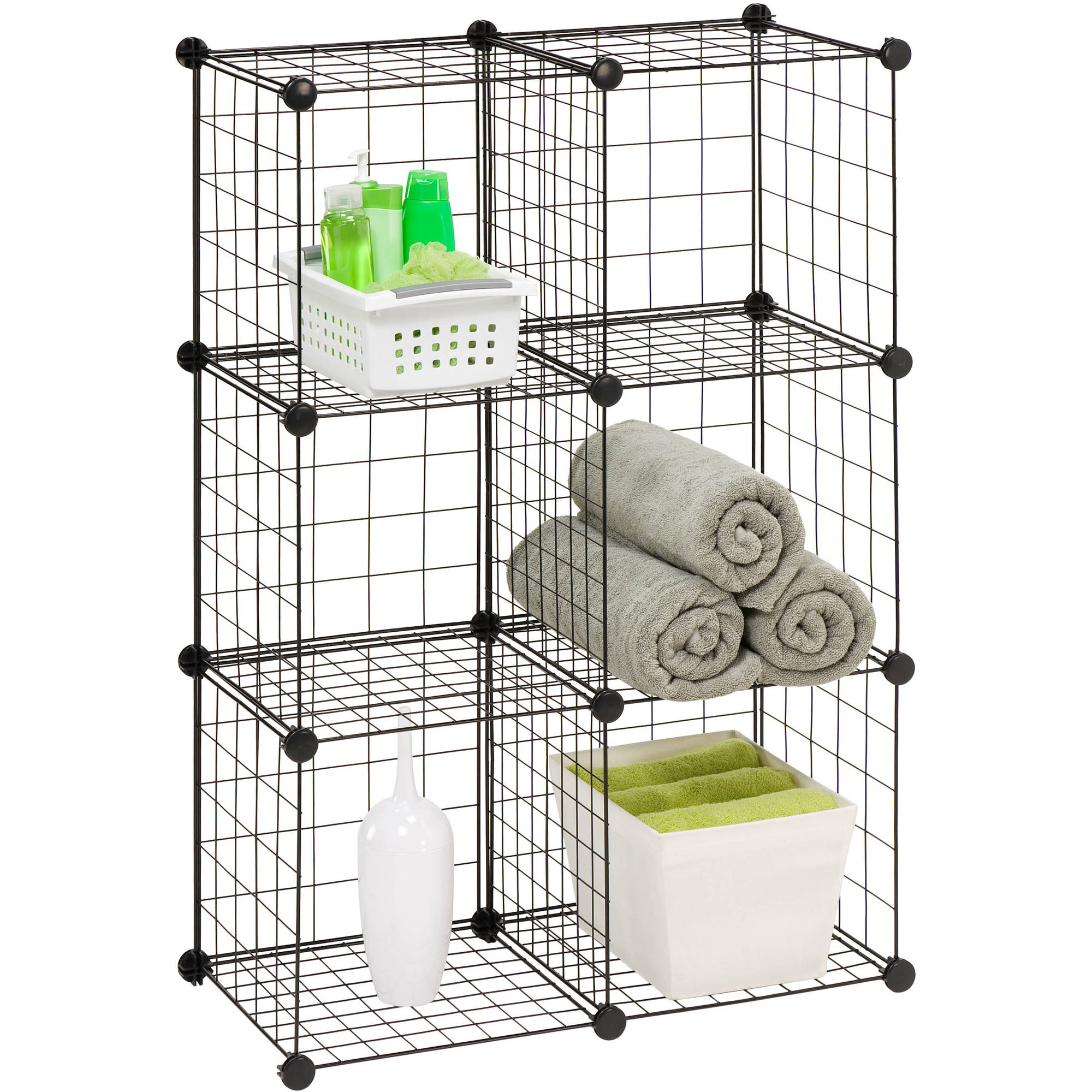 Honey Can Do 6-Pack Modular Mesh Storage Cube, Black