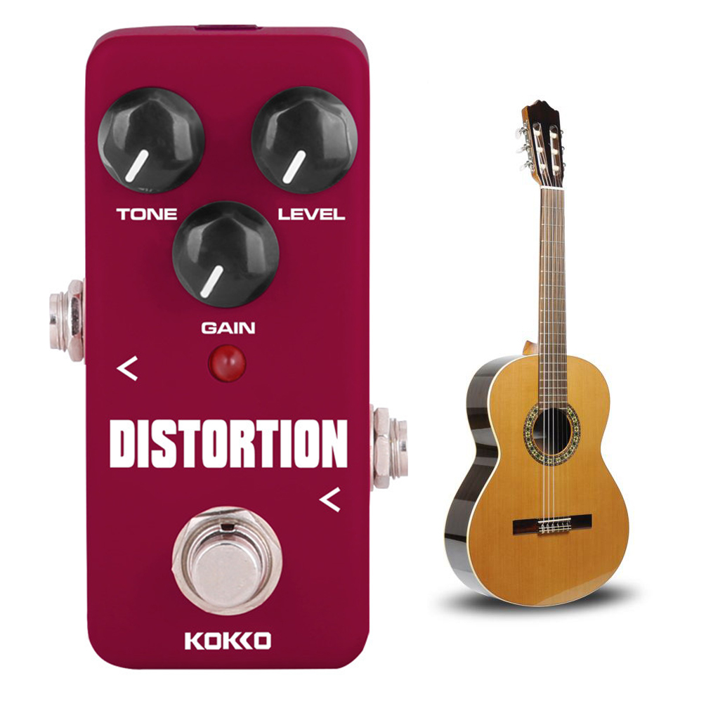 ALLCACA Distortion Guitar Pedal Mini Guitar Effect Pedal Electric Guitar True Bypass, Wine