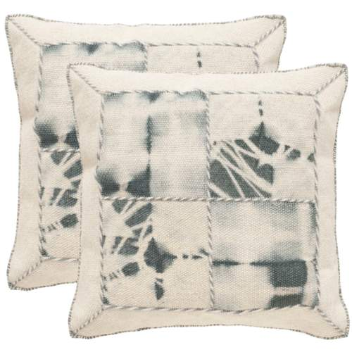 Safavieh DEC550D Square Seasalt Dip-Dye Quarter Patch Pillow with Feather Fillin