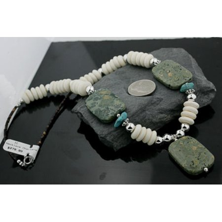 Jasper Disc - Large $280 Retail Tag Authentic Made by Charlene Little Navajo .925 Sterling Silver Natural Turquoise Jasper Agate Disk Native American Necklace
