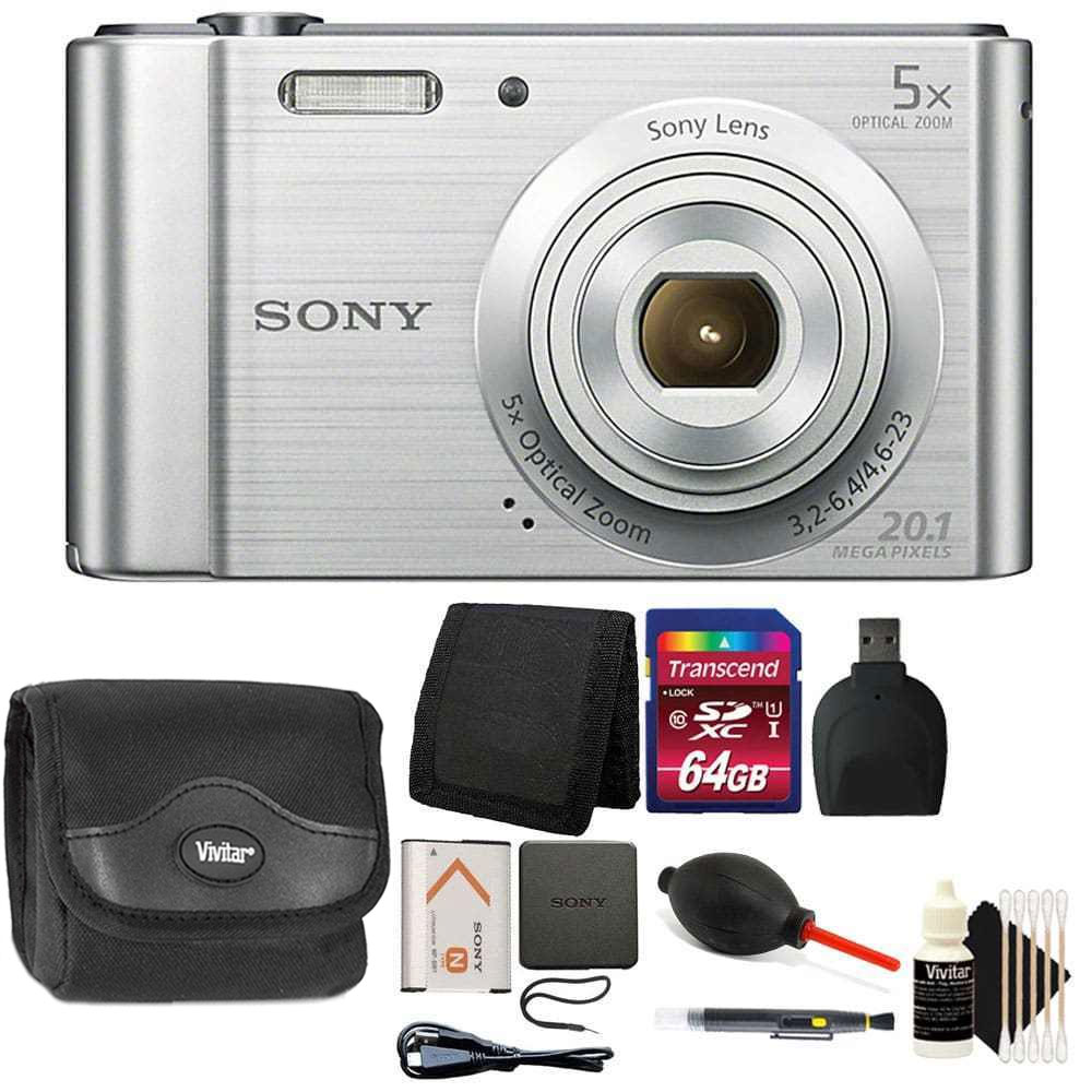 Sony Cyber-shot DSC-W800 Digital Camera (Silver) with 64GB Accessory Kit