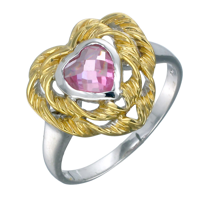 Yellow Gold Plated Sterling Silver Pink Heart Ring (6 MM)